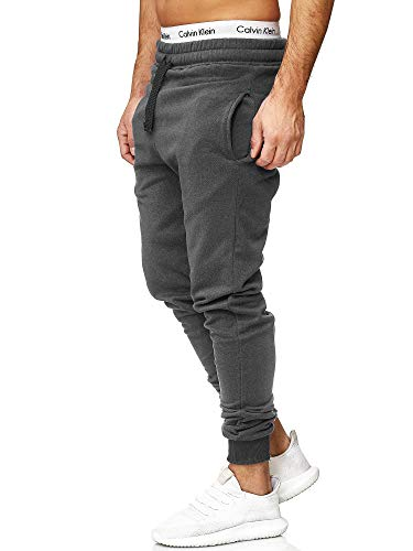 OneRedox Herren | Jogginghose | Trainingshose | Sport Fitness | Gym | Training | Slim Fit | Sweatpants Streifen | Jogging-Hose | Stripe Pants | Modell 5000C Antrazit L