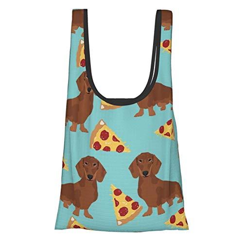 Bolsas de compras reutilizables Dachshund Red Coat Pizza Dog Raza Wiener Perros Teal Eco-Friendly Plegable Bolsa Bolsa de almacenamiento lavable