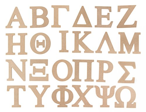 Juvale Unfinished Wooden Letters, Greek Alphabet (6 in, 24 Pack)