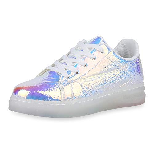 SCARPE VITA Damen Plateau Sneaker Holo Turnschuhe Lack Metallic Freizeitschuh 180373 Silber Metallic 37