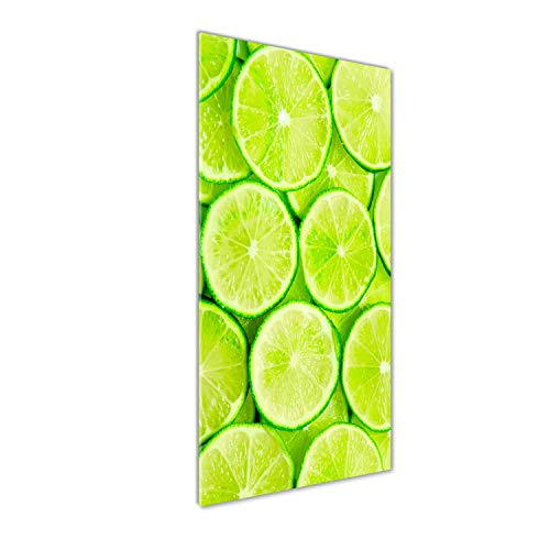 Tulup Impresión en Vidrio - 50x125cm - Cuadro sobre Vidrio - Pinturas en Vidrio - Cuadro en Vidrio - Impresiones sobre Vidrio - Cuadro de Cristal - Comidas Y Bebidas - Verde - Limas