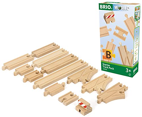 BRIO World - 33394 Starter Track Pack | 13Piece Wooden Train Tracks For Kids Ages 3 & Up,Multi