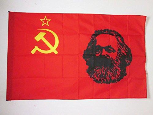 AZ FLAG Flagge SOWJETUNION UDSSR MIT Marx 150x90cm - Kommunismus Fahne 90 x 150 cm Scheide für Mast - flaggen Top Qualität