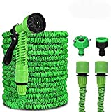 QNODO Extendable Garden Hose, 15M / 50FT Telescopic Water Hose with 8 Gun Functions, for Gardening, Car Washing, Watering, Bathing Animal, Camping etc (Leak Proof - Lightweight - Green)