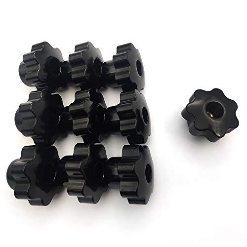 10 Pcs Tornillos de Perilla Hembra M8x40 mm, Tornillos de Cabeza Hueca, Cabeza de Plástico en Forma de Estrella para Dispositivos Mecánicos, Instrumentos, Equipos Industriales - Negro