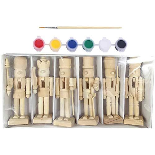 BSTCAR 6* Holzfiguren Mit Pinsel Und 6 Farben, Holzfiguren Spielfiguren 12cm Nussknacker Holz Nussknacker Charakter Soldat Spielzeug Kunsthandwerk Malen Spielzeug Malen