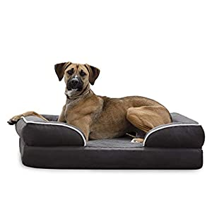 BrindleOrthopedic Memory FoamPet Bedwith Wrap Around Bolster– Plush Dog and Cat Bed–Removable VelvetCover, Large , Charcoal