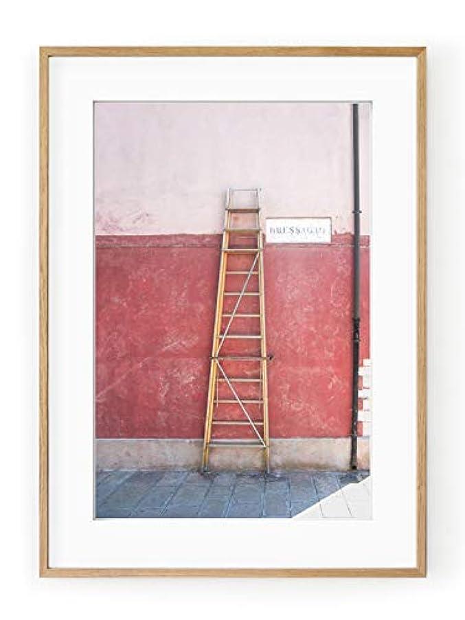 Via Bessagio, Black Satin Aluminium Frame, Full Format, Multicolored, 30x40