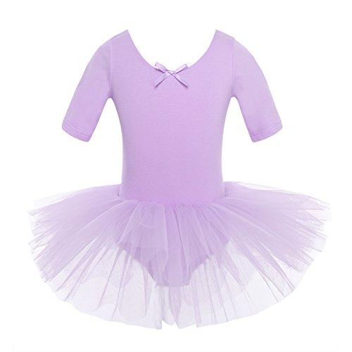 iEFiEL Mädchen Ballettkleid, Kinder Ballettanzug Tütü Ballett Trikot Turnanzug Kurzarm Ballettkleid mit Röckchen Lila 122-128