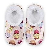 Mnsruu Zapatillas de acuarela, diseño de cupcakes, cerezas, para dormitorio, antideslizantes, para mujer, talla 4-5