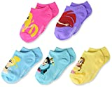 Disney girls Princess 5 Pack No Show Casual Sock, Assorted Sherbert, Shoe Size 4-8 US