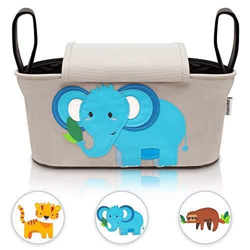 GRINSEZWERGE Kinderwagen Organizer – Elli Elefant I Premium Kinderwagentasche verschließbar I Kinder Buggy Tasche mit Feuchttuchspender I Baby Stroller Bag Grau I Aufbewahrungstasche