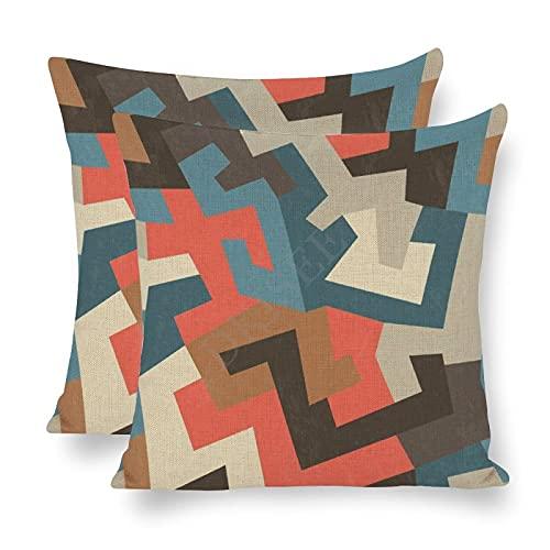 DKISEE Paquete de 2 fundas de almohada decorativas con efecto vintage, diseño tribal sin costuras, 45,7 x 45,7 cm, funda de almohada de lino de algodón
