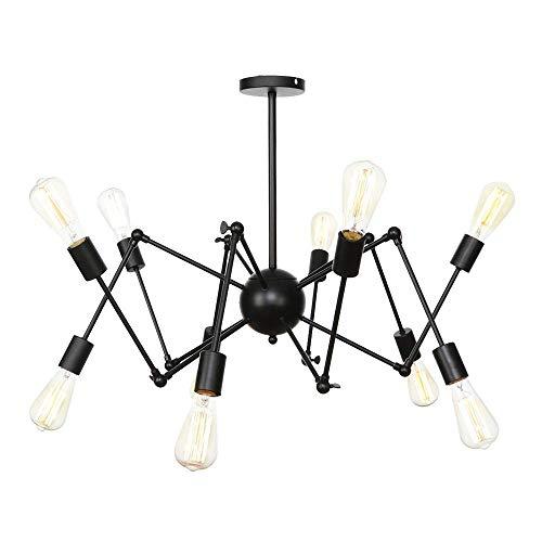 Beautiful Lampen/verstelbare arm, kroonluchter, 10 lampen, sputnic-hanglamp, hanglamp, metaal, E27, Edison, voor boerderijen, woonkamer, slaapkamer Zwart