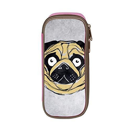 Lawenp Kids Scary Pug Dog Art Estuche para lápices suave de gran capacidad con cremallera para niños y niñas, color negro
