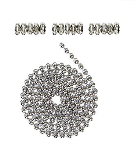 Estensione a catena con perline in acciaio inox con connettore, catena a rulli con 15 connettori coordinati, argento (2,4 mm)