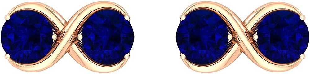 Infinity Stud Earrings, Fine Jewelry Earrings, Gold Statement Studs 14K Rose Gold Screw back