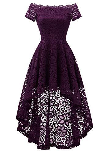 Dressystar 0042 Lace Off Shoulder Cocktail Hi-Lo Bridesmaid Swing Dress Grape S