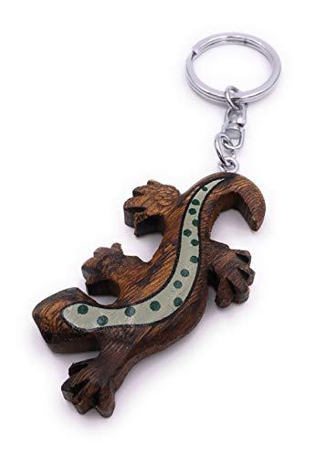 H-Customs Eidechse Echse Gecko Holz Edel Handmade Schlüsselanhänger Anhänger