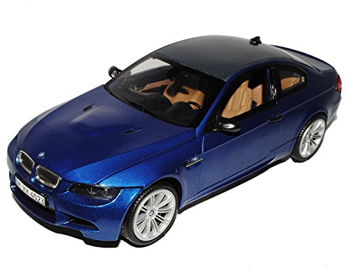 B-M-W M3 3er E92 Blau Coupe Karbon Dach Ab 2008 1/18 Motormax Modell Auto mit individiuellem Wunschkennzeichen