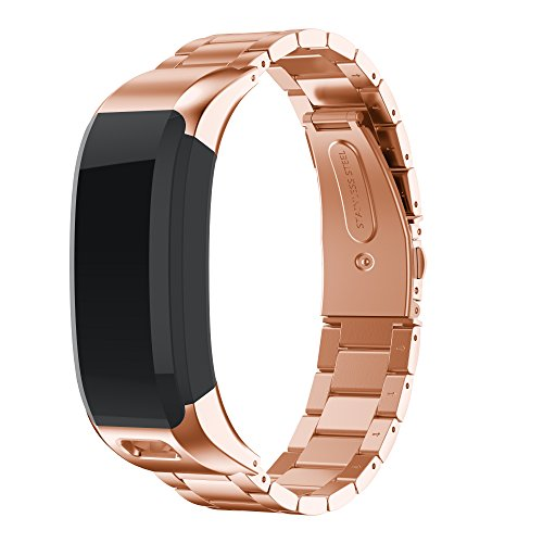 ANCOOL Compatible with Vivosmart HR Bands, Accessory Stainless Steel Replacement Bracelet Unique High Grade Watch Decor Band Metal Straps for Vivosmart HR(NOT for Vivosmart HR+) -Rose Gold