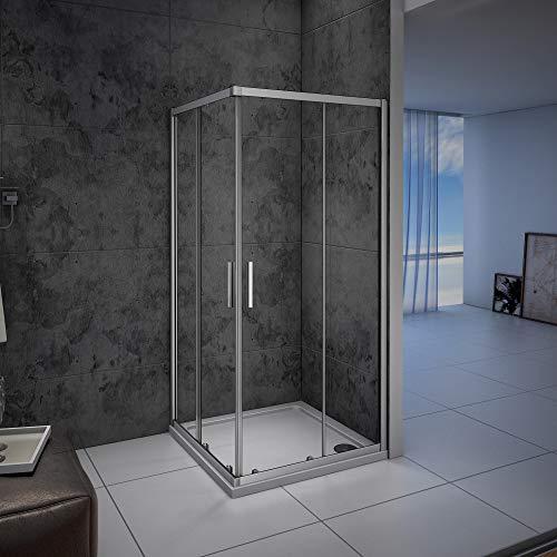 Mampara de ducha, Apertura Central, Puertas Correderas 90x70x185cm