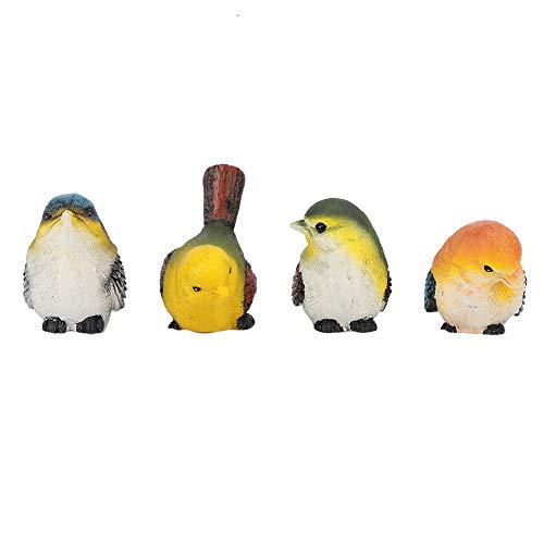 Rosilesi 4 * Decoración de pájaros de jardín - Decoración de Figuras de Animales de pájaros de Resina Adornos de Patio de jardín de césped