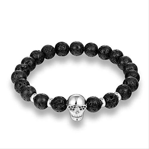 NJSDDB Trendy Natural Beads Strang Armband Micro Pave CZ Sonnenbrille Skeleton Skull Schwarz Lava Stone Energy Men European Buddha JewelrySilver