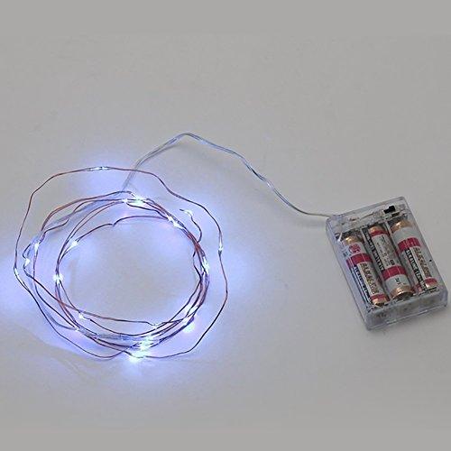 Wankd - Guirnalda de 20 luces LED, 2 m, luz blanca, funciona con pilas, con interruptor, luz de ambiente para habitaciones, interiores, Navidad, habitación de los niños, exteriores, fiestas, bodas