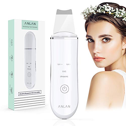 Skin Scrubber Face Spatula ANLAN Ultrasonic Face Scrubber Ion EMS Electric Face Scraper Pore Cleanser Face Exfoliator Blackhead Wrinkle Removal for Face Lift Skin Care Tools Facial Skin Scrubber