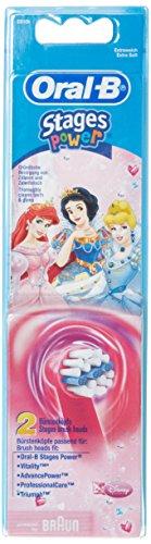 Braun Oral-B Stages Power Kids Ersatz-Zahnbürstenköpfe, Design: Disney-Prinzessin, 2er-Pack