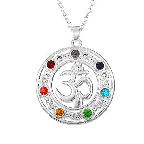 GuDeKe Collar OM Colgante de 7 Chakras con Piedra Natal Joyería Unisex