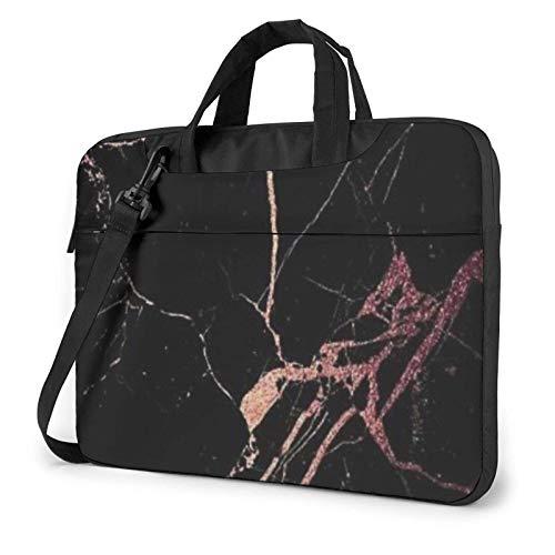 Waterproof Laptop Shoulder Messenger Bag Black Rose Gold Marble Printed Case Sleeve for 14 Inch Laptop Case Laptop Briefcase