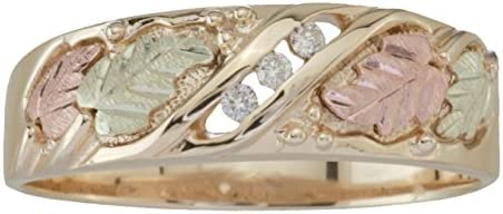 3 Stone Diamond Band 10k Yellow Gold 12k Green and Rose Gold Black Hills Gold Motif Size 14 product image