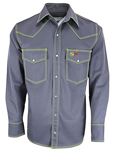 Western Welder Outfitting - FR Welding Shirt Western Style | Light Weight Tripled-Stitched Welding Shirts, Relaxed Fit, (Gray, X-Large)