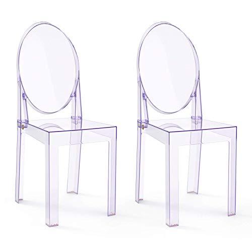 Ghost Chair 2PCS Esszimmerstühle Transparenter Make-up-Ankleidestuhl, Ghost Style Dining Side Chair, moderner Stuhl - abnehmbar und stapelbar (klar, 2-teilig)