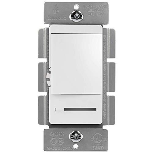 TOPGREENER in Wall Slide Dimmer Switch, for 150W Dimmable LED, 600W Incandescent/Halogen, Single Pole or 3 Way, 120V 60Hz, Neutral Wire Not Required, UL Listed, TGDMDS-120, White