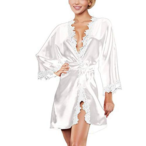 EBILUN Frauen Sexy Nachthemd Langarm V-Ausschnitt Spitze Nachtwäsche Nachthemd Nachtwäsche Bademantel Weiß S
