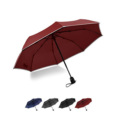 Brainstorming Windproof Travel Umbrella Compact Auto Open/Close Portable Folding Umbrella with Teflon Coating, Reflective Stripe Design, Lightweight for Travel (Red)