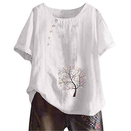 ORANDESIGNE Femme Chemisier Manches Courtes en Coton Lin Kaftan Imprimé Floral Tunique T-Shirt Baggy Tops Grande Taille M Blanc XL