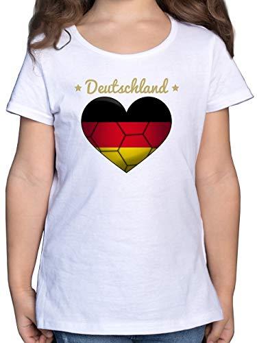 Sport Kind - Handballherz Deutschland - 104 (3/4 Jahre) - Weiß - Statement - F131K - Mädchen Kinder T-Shirt