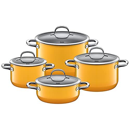 Silit Passion Yellow Batterie de cuisine 4 pièces pour induction avec couvercle en verre, céramique fonctionnelle, Silargan sans nickel, jaune