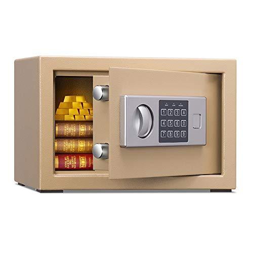 MAATCHH Caja Fuerte de Gabinete Electrónica Digital Acero Seguro y Fuerte con Teclado, de anulación Manual Key Entry joyería Dinero Protect para el Negocio en casa (Color : Gold, Size : 31x20x20cm)