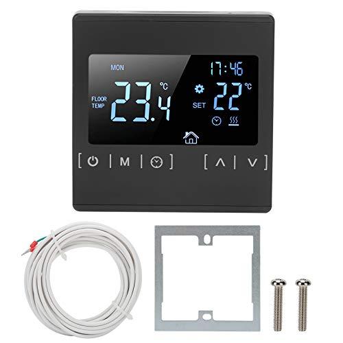 Fdit Termostato programable LCD Grande Controlador de Temperatura de microordenador de Piso cálido Operación táctil con función de Memoria para Estufa de Caldera de Sauna 85 V-240 V