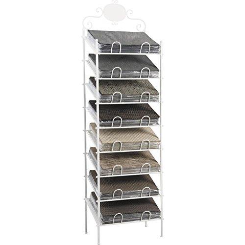 Présentoir pour sets de table en métal laqué blanc 8 niveaux