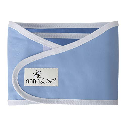 Anna & Eve - Baby Swaddle Strap, Adjustable Arms Only Wrap for Safe Sleeping - Small Size Fits Chest 13.5 to 17, Blue