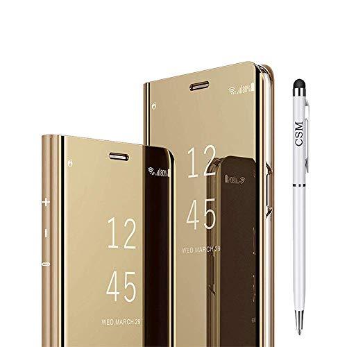 Xiaomi Mi 8 Pro capa flip espelhada, capa com suporte galvanizado de luxo, capa inteligente com proteção de tela, cobertura total, película flexível para Xiaomi Mi 8 Pro (dourada)