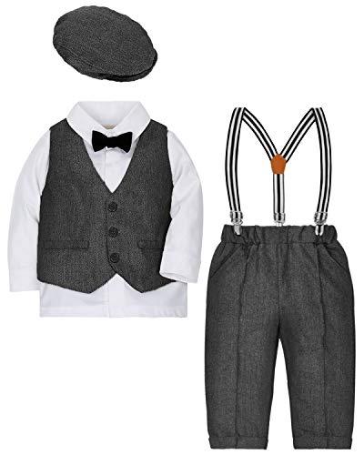 ZOEREA 4tlg Baby Jungen Bekleidungssets Hemd + Hose + Weste + Hut Fliege Krawatte Kinder Anzug Gentleman Festliche Hochzeit Langarm Body für Frühling Herbst