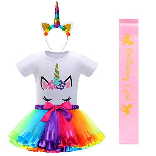 Unicorn Birthday Outfit with Rainbow Unicorn Tutu for Girls,Unicorn Headband,Girls Shirts and Birthday Girl SAS