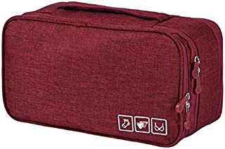 Packing Organizer Bra Underwear Storage Bag Travel Lingerie Pouch Toiletry Organizer-WINE RED